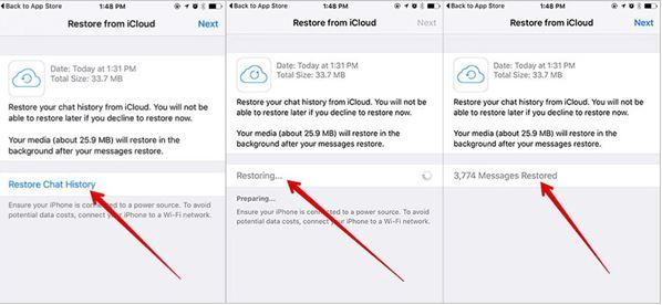 Retrieve iOS messages