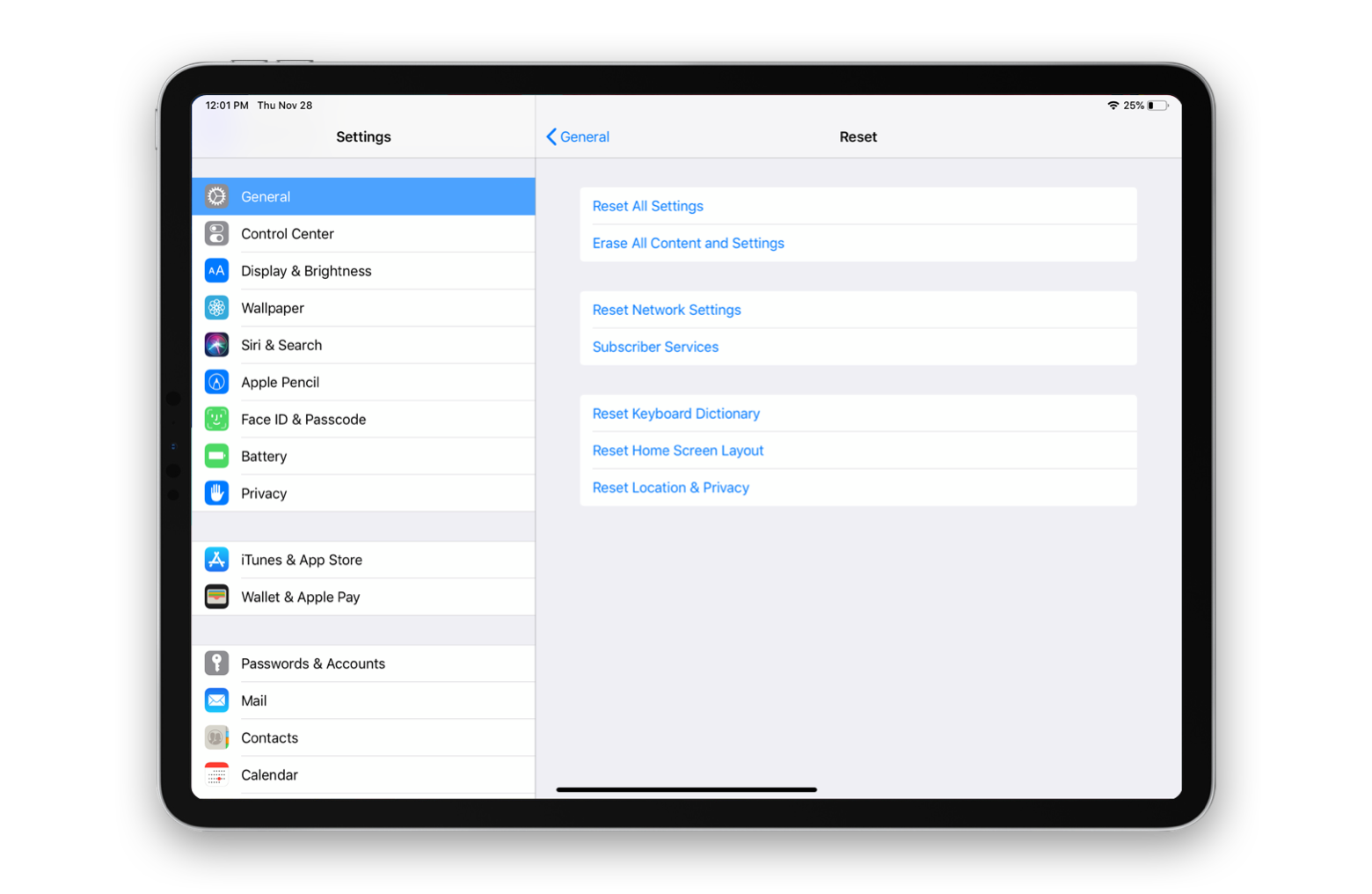 iPad reset settings