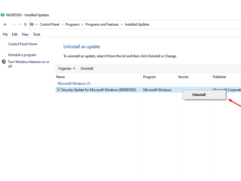 Uninstall The Kb500556 Update